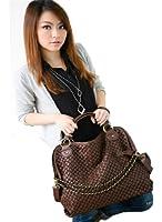 Oryer Fashion Women PU Leather Hobo Chain Weaving Woven bag Handbag Double Use Shoudler Bag(Deep Brown)
