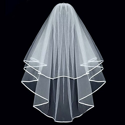 KLOUD City® White Double Ribbon Edge Center Cascade Bridal Wedding Veil with Comb