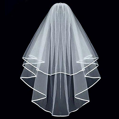 KLOUD City® White Double Ribbon Edge Center Cascade Bridal Wedding Veil with Comb