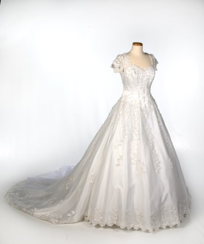 White Satin and Net Wedding Gown with Cap Sleeve