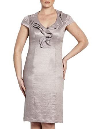 Adrianna Papell Women's Ruffle Sheath Dress 16 Stone