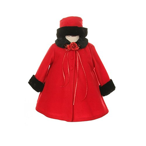 Kids Dream Red Fleece Faux Fur Collar Stylish Coat Baby Girl 6M