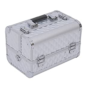 """Soozier 12"""" Cosmetic Makeup Train Case w/ Mirror & Extendable Trays - Silver"""