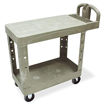 Rubbermaid Commercial Heavy-Duty Service Cart with Lipped Shelves