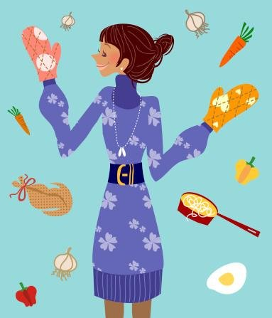 Close-Up Of A Woman Wearing Oven Mitt Wall Decal - 30 Inches H X 26 Inches W - Peel And Stick Removable Graphic front-638097