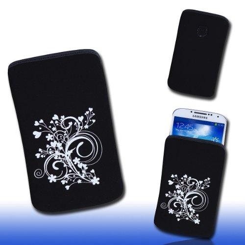 Handy Tasche schwarz/weiß E8-2 für Samsung C3312 Rex60 / S5222R Rex80 / Galaxy Young S6310 / Galaxy Young Duos S6312 / Galaxy Pocket Plus S5301 / Samsung Galaxy Pocket Neo S5310 / Alcatel OT 903D / Alcatel OT Star 6010D