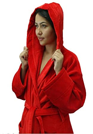 Terry Cotton Hooded Adult Robes, Women and Men Bathrobe