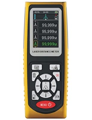 WCI Quality Laser Distance Meter With Data Memory - Provides Instant Accurate Distance Measurements - For Contractors, Builders, Installers, Etc.