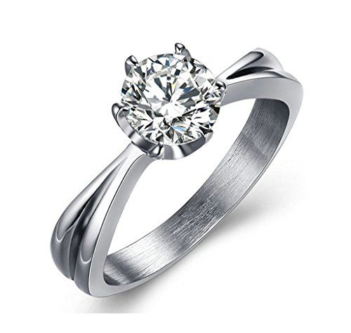 Xiangling Solitaire Cubic Zirconia CZ Wedding Engagemant Ring 6 Prongs 18K White Gold Plated Size 8
