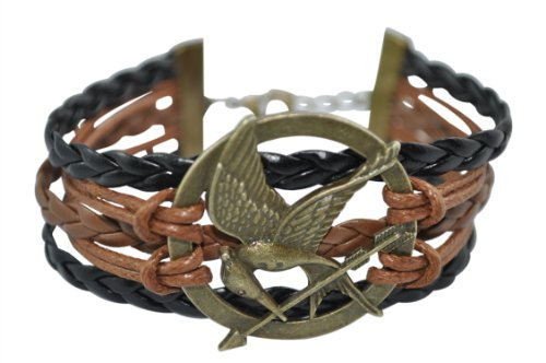 BlueTop(TM) Fashion The New Movie BronzeMockingjay Bracelet For Hunger Games Fans Leather Knit Weave Rope