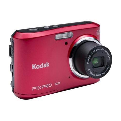 """Kodak Pixpro Friendly Zoom Fz41 Digital Camera, 16Mp, 4X Optical/6X Digital Zoom, 8Mb Memory, 2.7"""" Lcd Display, Hd 720 Video, Usb 2.0, Red"""