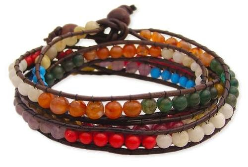 Love Hearts and Crosses Semi-Precious Stone Agate Beaded Wrap Bracelet