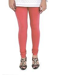 Vami Cotton Churidaar Leggings for Women in Coral Peach
