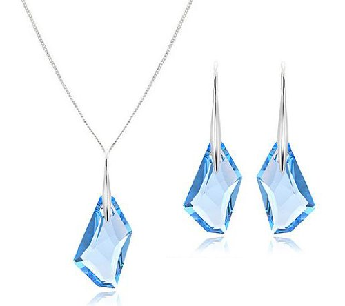 Aquamarine Blue Crystal Silver Pendant Earrings Set (Made With Swarovski Element)