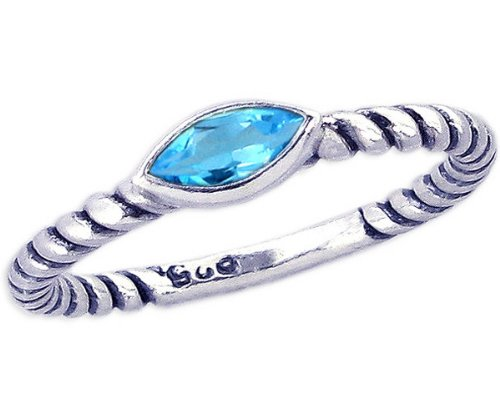Twisted Sterling Silver Stackable Ring with East-West Medium Marquis Genuine Stone-Swiss Blue Topaz-in full,half,quarter sizes from 3.5 to 12_7.5