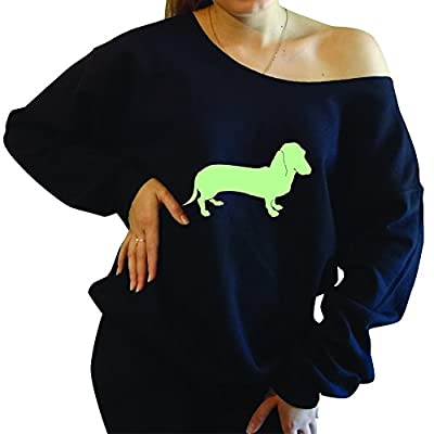 From Here To There Dachshund, Oversized Off The Shoulder Slouchy Sweatshirt