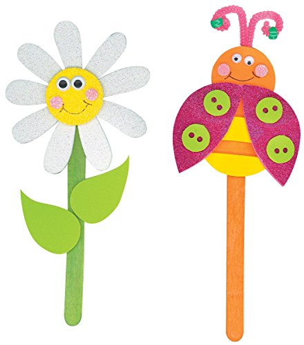 Foam Kit - Makes 2-Daisies/Ladybugs Puppets On A Stick - 1