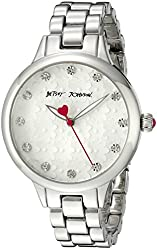 Betsey Johnson Women's BJ00293-11 Silver-Tone Crystal-Accented Watch