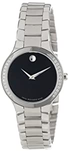 Movado Women's 0606385 Serio Stainless-Steel and Diamond Black Round Dial Watch