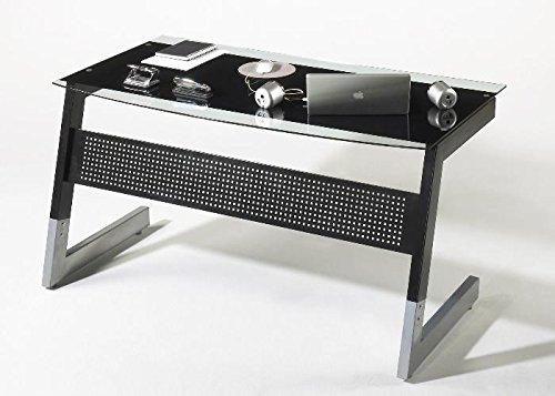 Schreibtisch BIG M MCA schwarz silber Schwarz Grau Glas Metall