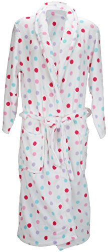Anucci Soft Fleece White Dressing Gown with Spots or Stars HT121