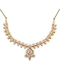 31.60 Grams White Cubic Zirconia Gold Plated Brass Necklace Set