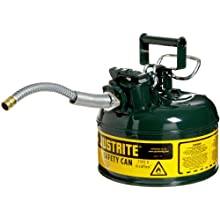 "Justrite AccuFlow 7210420 Type II Galvanized Steel Safety Can with 5/8"" Flexible Spout, 1 Gallon Capacity, Green"