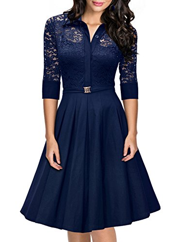 Missmay Women's Vintage 1950s Style 3/4 Sleeve Black Lace Flare A-line Dress (X-Large, Navy Blue)