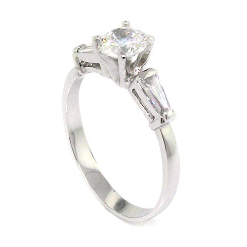Sterling Silver Classic Engagement Ring w/Round Brilliant White CZ Size 5