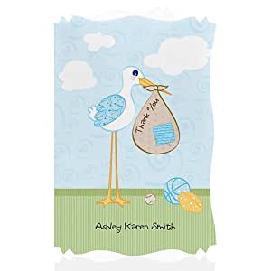 stork baby boy personalized baby shower thank you cards