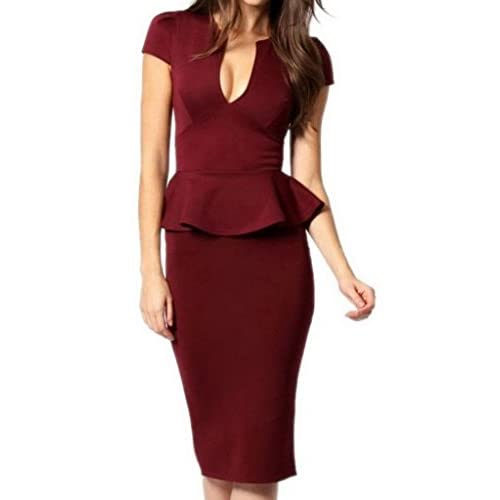 (ラボーグ)La Vogue ボディコン レディース ワンピースドレス キャバ 二次会 タイト着痩せ 半袖 低Vネック フリル ひざ丈ワンピース M なつめ色