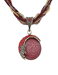 LNKRE JEWELRY Vintage Women's Bohemia Pendant Necklace with Opal Crystal,18