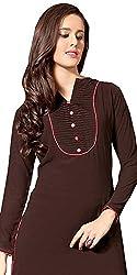 Aracruz Women's Clothing Designer Party Wear Low Price Sale Offer Brown Color Plain Cotton Top Tunic Free Size Dresses Kurti Kurta with Chinese Collar