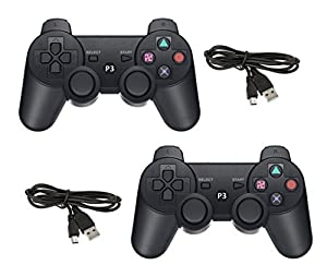 GAME-O 2 Pack Bluetooth Wireless Remote Game Gaming Controller Gamepad Consoles Joypad Joystick for Playstation 3 PS3 - Black