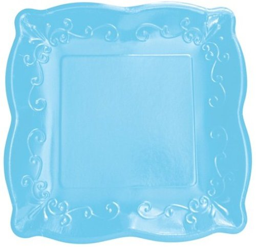 "Elise Scalloped Embossed 7"" Square Premium Paper Plates, 8 Count, Azure"
