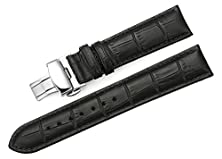 buy Istrap 22Mm Calf Leather Padded Replacement Watch Band W/ Push Button Deployment Buckle Black 22