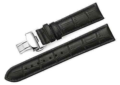 iStrap 22mm Calf Leather Padded Replacement Watch Band W/ Push Button Deployment Buckle Black 22 (Leather Watch Band For Omega compare prices)