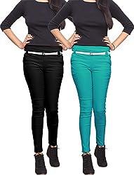 Xarans Stylish Black & Kelly Green Cotton Lycra Zip Jegging Set of 2 Pcs