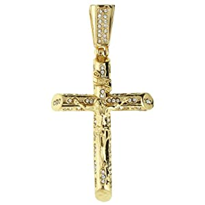 Iced Out Bling Chain - JESUS CROSS gold