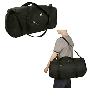 Travelon Black Stow Away Duffel Duffle Bag Travel Lightweight Gym Carry Shoulder
