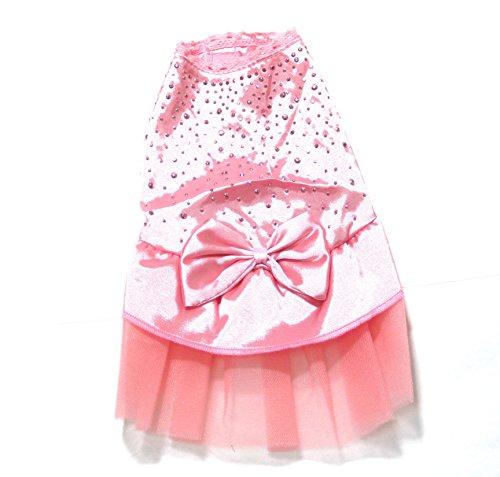 KUMANAGI 犬 用 ふわふわ パーティ ドレス XS サイズ (ピンク)