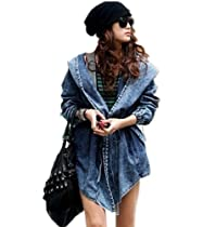 Loel® Fashion Denim Trench Coat Hooded Outerwear Jean Jacket
