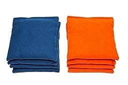 Weather Resistant Cornhole Bags (Set of 8) by SC Cornhole (Royal Blue/Orange)
