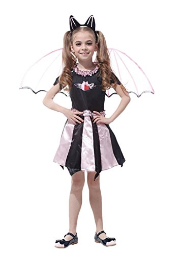 [Ace Halloween Children's Kids Girls Cute Bat Devil Princess Costumes (7Y-10Y)] (Cute Angel And Devil Costumes)