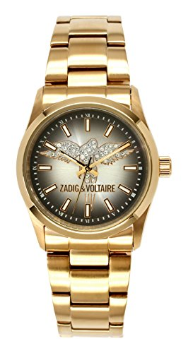 Zadig Voltaire ZV &005/AM-Rock Women's Watch Analogue Quartz Black Dial Gold Plated Steel Bracelet
