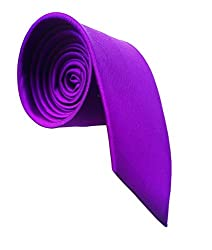 WSD men's narrow royal blue purple and red micro fiber tie pack of three (Purple)