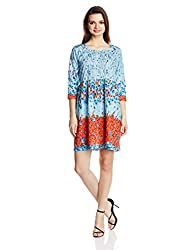 Rain and Rainbow Women's Pleated Dress (3695-SS/07-01_Blue_Large)