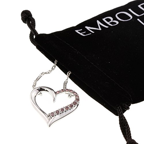 Open Heart Pink Half Crystal Pendant Fashion Silver Love Necklace Anniversary Jewelry Gift for Girlfriend