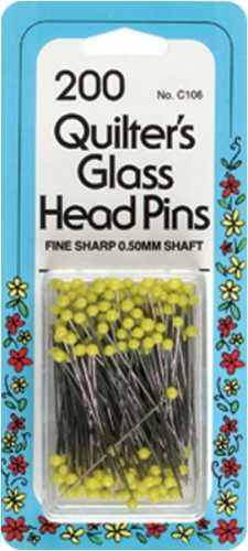 Quilter's Glass Head Pins Size 22 200/Pkg