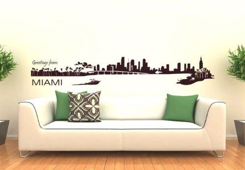 Wall Vinyl Sticker Decals Decor Art Bedroom Design Mural Miami Skyline Town City (Z983) front-941962